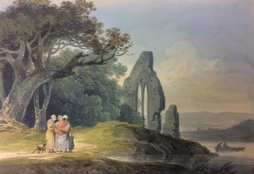 Rustics by a ruined church, William Payne (British 1760-1833)