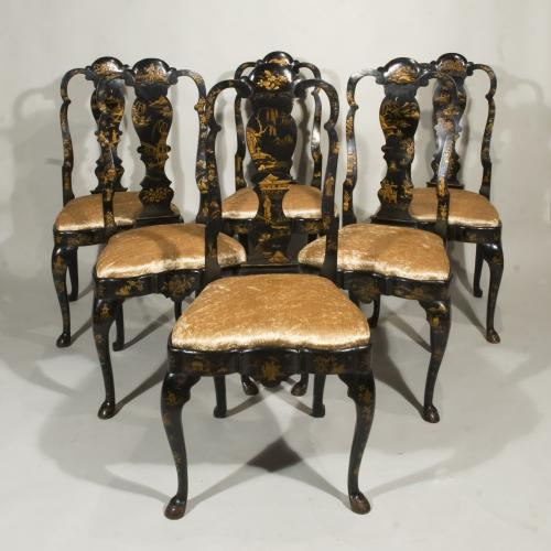 A Set of Six 19th Century Dutch lacquered and japanned chairs