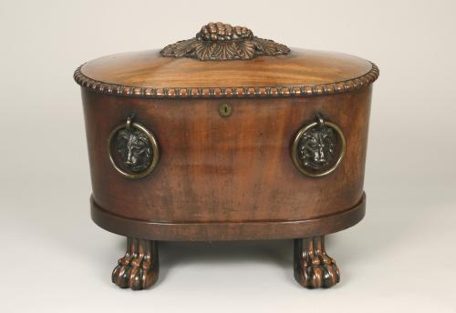 Grand Scale Regency Period Mahogany and Lead Lined Oval Wine Cooler