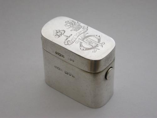"Victorian Silver ""Go-to-Bed"" Vesta Case Okeover Family Crests"