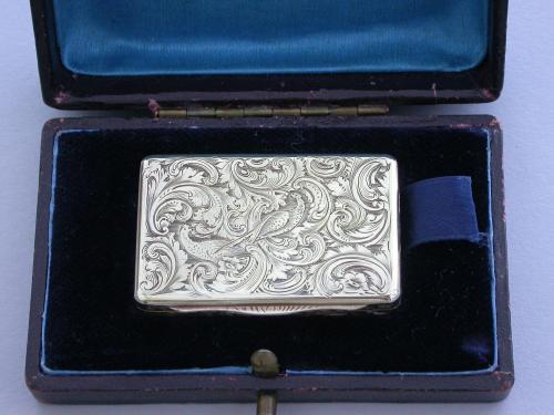William IV Cased Silver Gilt Pheasants Vinaigrette