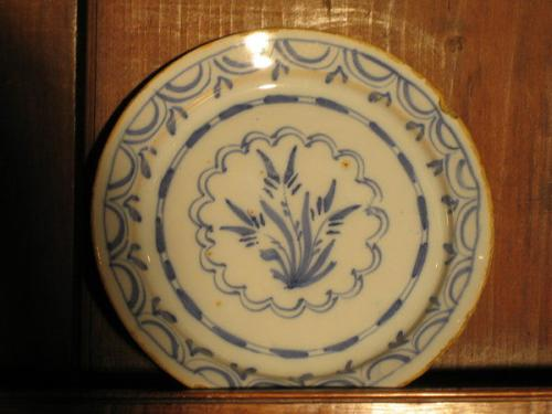 A rare, small, mid-18th century delftware plate
