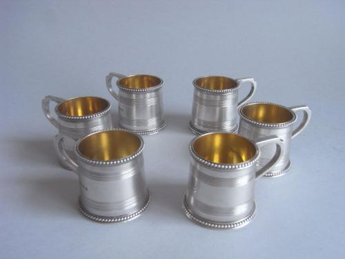 A very rare set of six Dram Mugs made in London in 1871 by Richard Sibley.