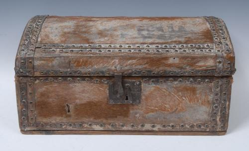An 18th century pony skin domed rectangular document box
