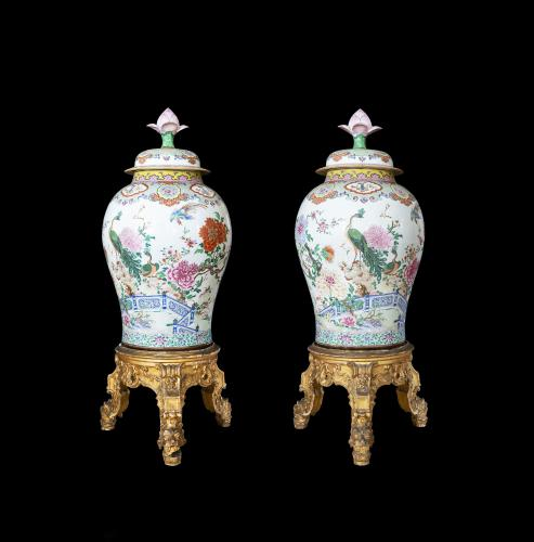 pair of Chinese export porcelain large vases decorated in famille rose