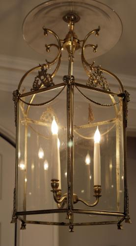 Antique, Fine Quality Nineteenth Century Gilt Metal Hall Lantern
