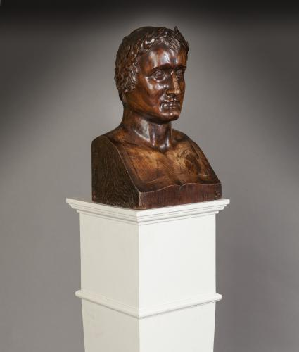 Sculptured Wood Bust of Emperor Napoleon I