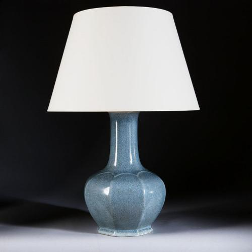A Large Hexagonal Craquelle Glaze Lamp