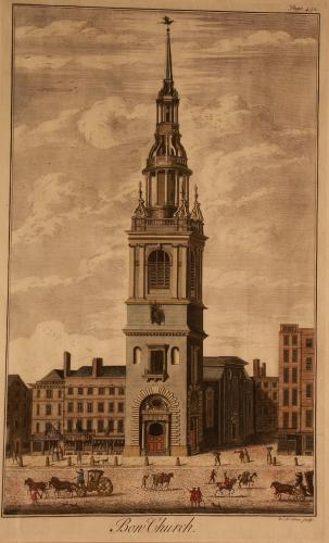 A hand-coloured, copperplate, engraved print of Bow Church, 1739