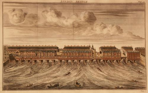 A hand-coloured, copperplate, engraved print of London Bridge, 1739