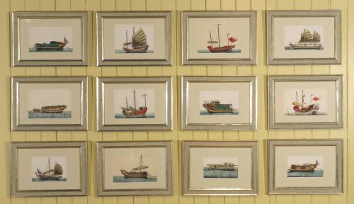 A set of 12 19th Century Chinese Watercolours on Rice Paper Depicting Junks