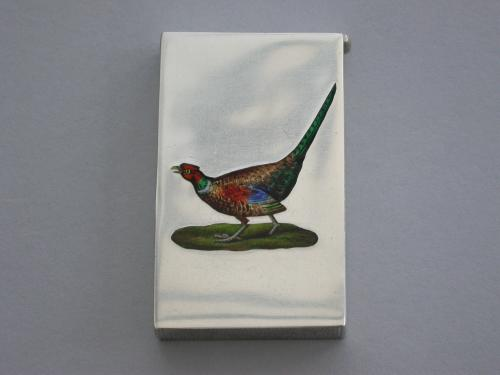 Early 20th Century Silver & Enamel Pheasant Vesta Case