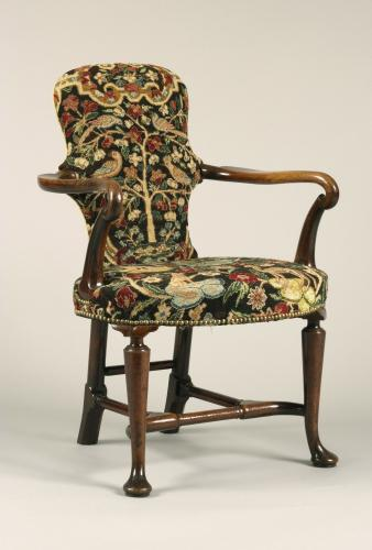 English , Walnut Queen Anne Period , Shepherds Crook Armchair with Contemporary Needlework