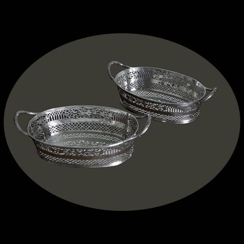 Pair of Victorian Silver Bread Baskets