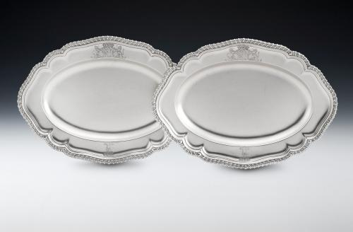 The Milton Abbey Canape Dishes. A very fine pair of George II Canape Dishes made in London in 1752 by Peter Taylor