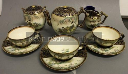 Fine japanese six-piece tea set signed kinkozan
