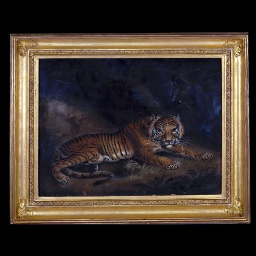 A 19th Century Sand Paper of a Tiger in a Cave