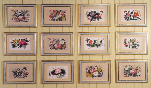 A Set of 12 Chinese Watercolours on Rice Paper Depicting Flowers and Butterflies