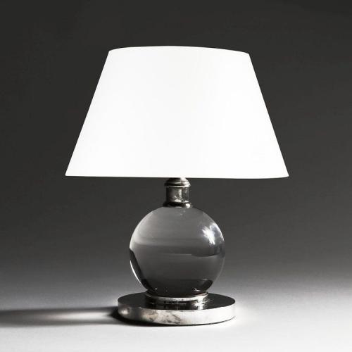 A Crystal Ball Lamp After Jacques Adnet