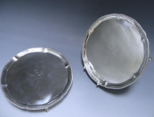 Pair of Antique Silver George III Salvers