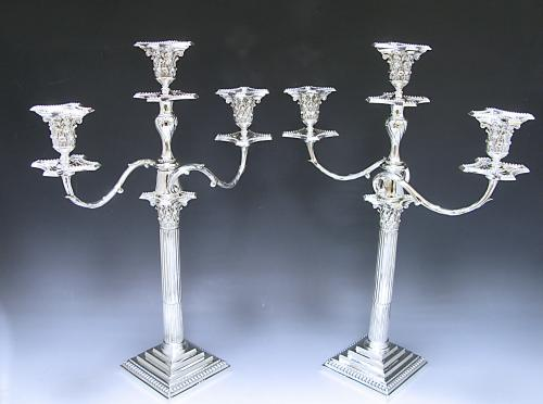 Pair of Victorian Antique Silver Three Light Candelabra