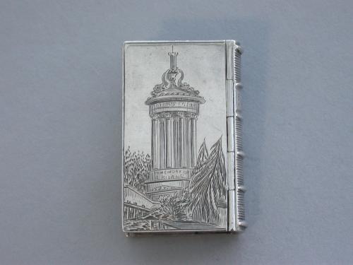 Victorian Silver Book Form Castle-Top Vinaigrette - Burns Monument