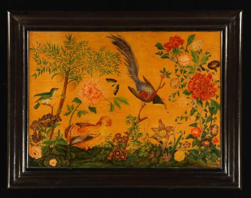 Antique , French Decorated Panel of Flora and Fauna