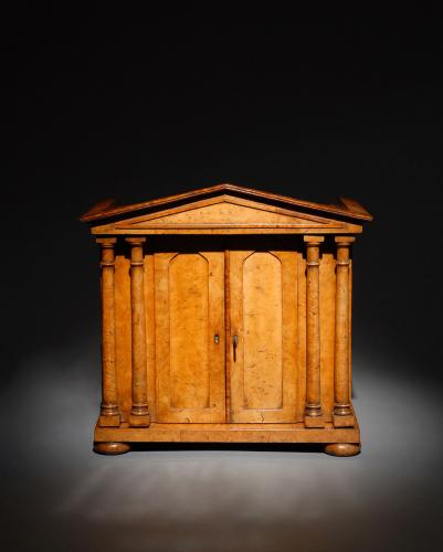 A Fine Burr Elm Collector's Cabinet of Architectural Form