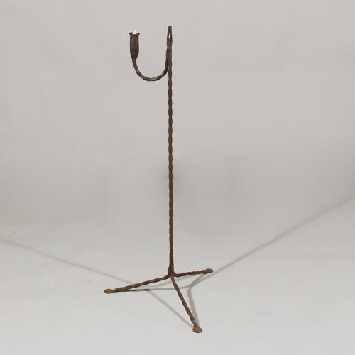 18th Century Wrought Iron Standing Rush Nip and Candle Holder
