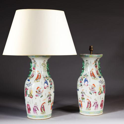 A Pair of Mid 19th Century Chinese Polychrome Vases
