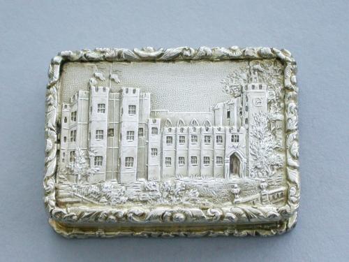 William IV Silver Gilt Castle-Top Vinaigrette - Kenilworth Castle