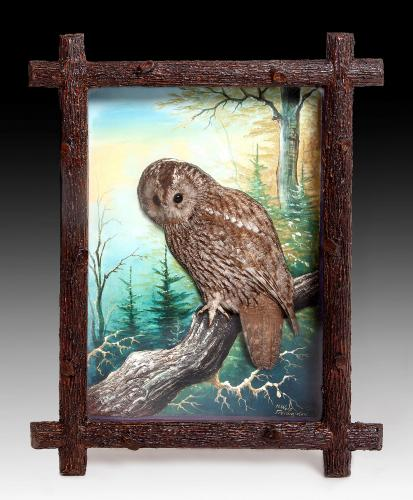 A framed collection of nine framed dioramas of birds