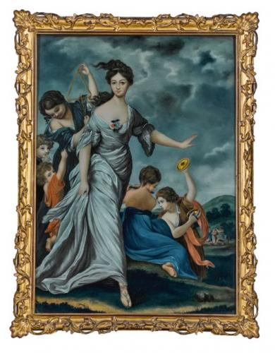 A Chinese Export Reverse Glass Painting of Mrs Hale as Euphrosyn, after Sir Joshua Reynolds