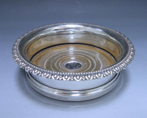 A Single George III Antique Silver Wine Coaster