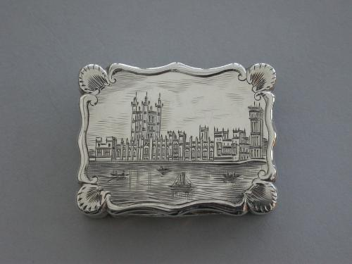 Victorian Silver Castle-Top Vinaigrette - Houses of Parliament