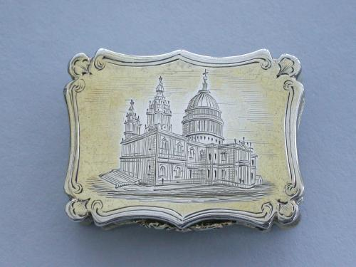 Victorian Silver Gilt Castle-Top Vinaigrette - St Pauls Cathedral