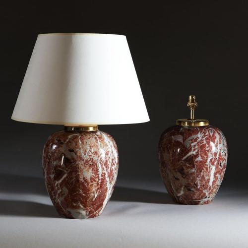 A Pair of Faux Marble Porcelain Lamps