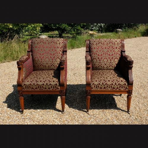 Pair Mid 20th Century Regency Style Upholstered Mahogany Armchairs
