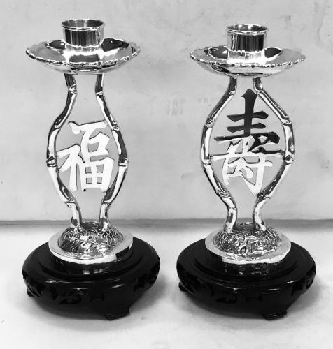 Pair of Chinese Export Silver Candlesticks
