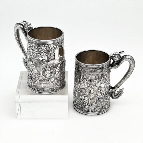 Pair of Chinese Export Silver Mugs