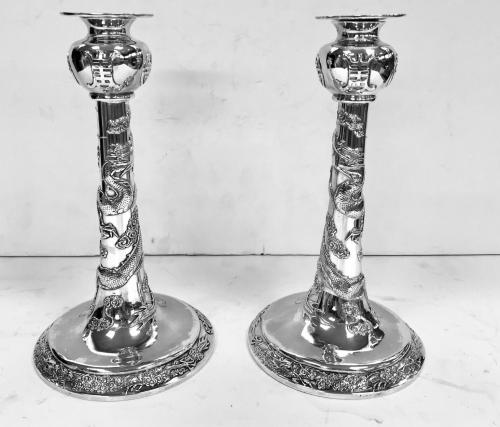 Pair of Chinese Silver Candlesticks