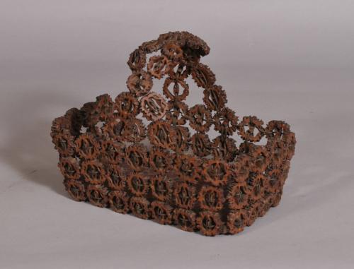 S/3597 Antique Folk Art 19th Century Basket