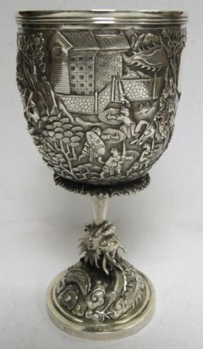 Antique Chinese Export Silver Goblet