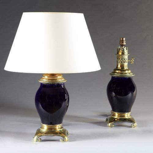 A Pair of Sevres Porcelain Lamps