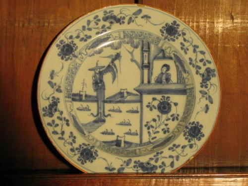 A fine, pair of mid-18th century delftware plates