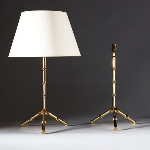 A Pair of Bamboo Simulated Brass Lamps