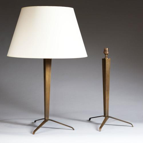 A Pair of Bronze Tripod Lamps