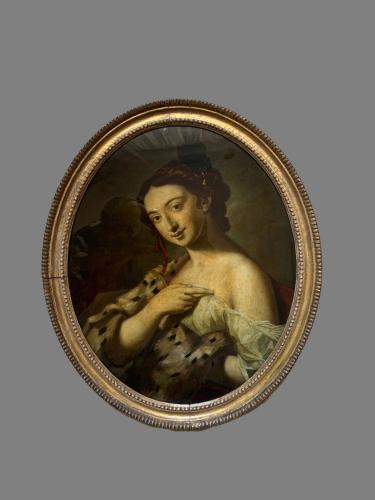 """Rare Glass Painting """"Winter"""" by Roselba Giovanni 1675- 1758"""
