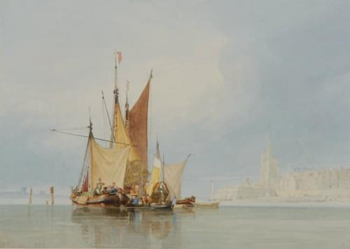 Boats off Cologne, John Sell Cotman (British, 1782-1842)