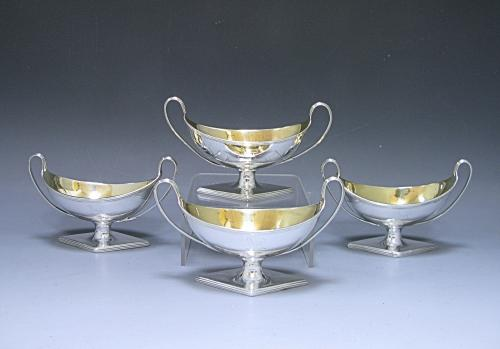 A Set of Four George III Antique Silver Salts